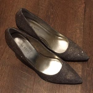 Nine West Holographic Iridescent Silver/Gold Heels